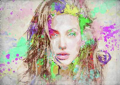 Photograph - Angelina Jolie Watercolor by Ricky Barnard
