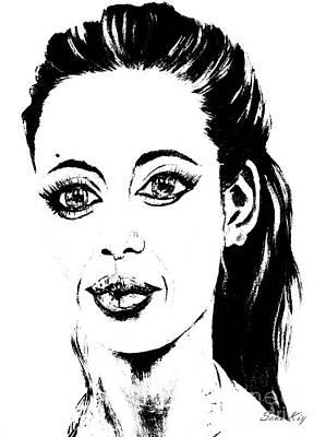 Painting - Angelina. Portrait Black-white by Oksana Semenchenko