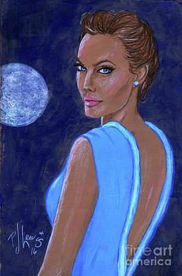 Light Blue Drawing - Angelina's Blue Moon by P J Lewis