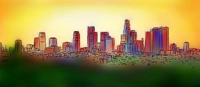 Los Angeles Skyline Painting - Angelous V1 - Los Angeles Skyline by Cersatti