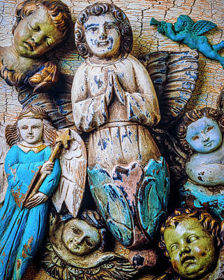 Peeling Painted Wood Wall Art - Photograph - Angels All Together by Garry Gay
