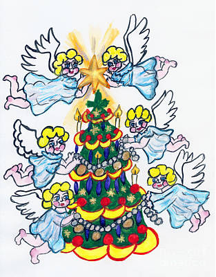 Painting - Angels And Christmas Tree, Painting by Irina Afonskaya