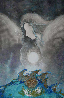 Painting - Angels And Dolphins Healing Sanctuary by Alma Yamazaki