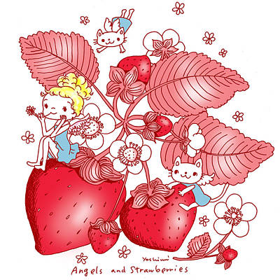 Illustration Painting - Angels And Strawberrys by Yoshimi Hata