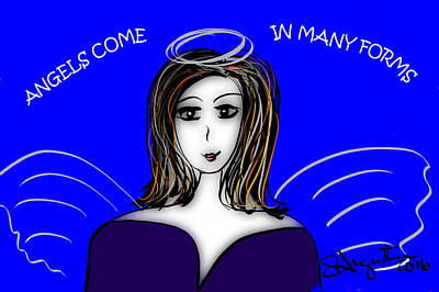 Thinking Of You Drawing - Angels - Angels Come In Many Forms by Sharon Augustin