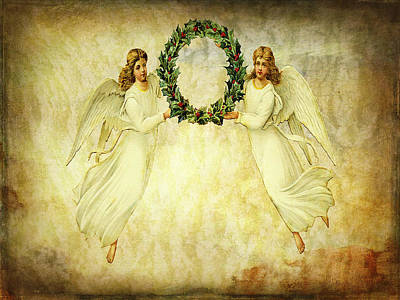 Mixed Media - Angels Christmas Card Or Print by Bellesouth Studio