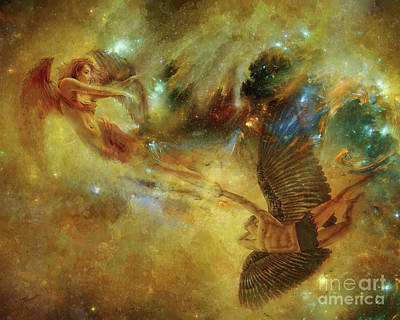 Romanticism Mixed Media - Angels Free Fall by Olga Hamilton