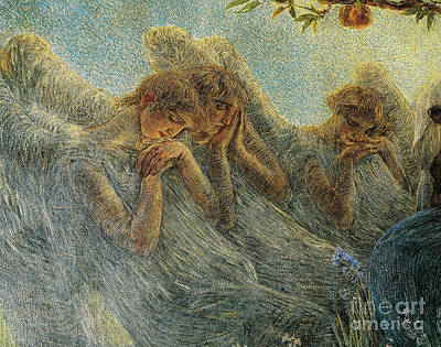 Maternity Wall Art - Painting - Angels by Gaetano Previati