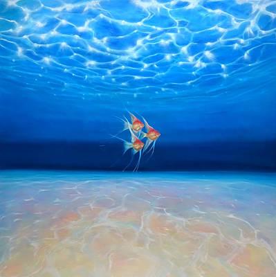 Angels In A Big Blue Ocean Art Print by Gill Bustamante