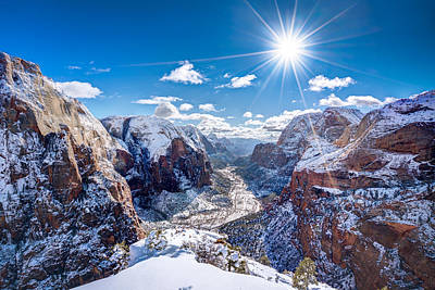 Angels Landing In Winter Art Print