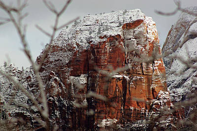 Photograph - Angels Landing Under Snow by Daniel Woodrum