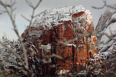 Photograph - Angels Landing Under Snow by Daniel Woodrum