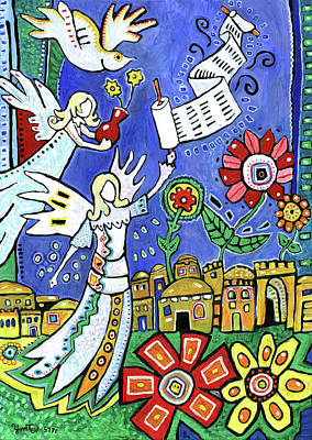 Painting - Angels Over Jerusalem by Yom Tov Blumenthal