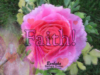 Digital Art - Angels Pink Rose Of Faith by Barbara Tristan