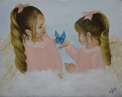 Portrait Painting - Angels With Wings by Joni McPherson