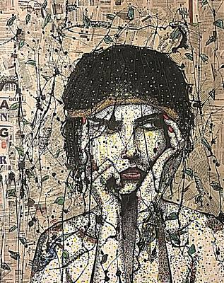 Femal Portrait Painting - Anger Female Figure Tattoo Vintage Rustic Contemporary Modern Recycled Art Painting  by Heather Freitas