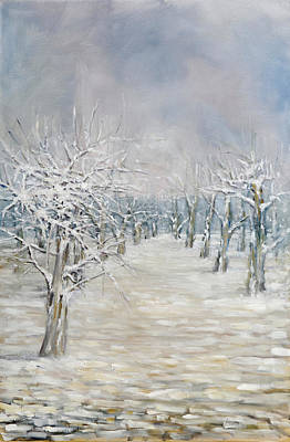 Pear Tree Painting - Angie's Pear Orchard by Robert James Hacunda