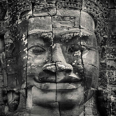 Stone Carving Photograph - Angkor Face by Dave Bowman