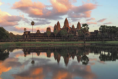 Water Reflections Photograph - Angkor Sunset by Ryan Scholl