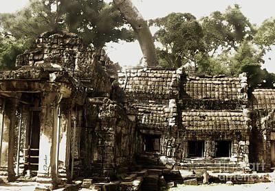 Angkor - Ta Prohm Ruins Print by Linda Parker