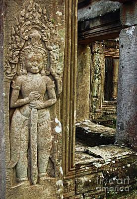 Angkor Wat-ancient Window Art Print by Linda Parker
