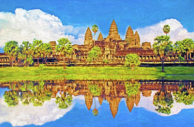 Mixed Media - Angkor Wat by Dennis Cox