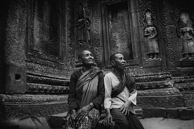 Angkor Wat Old Women Bw Art Print by David Longstreath