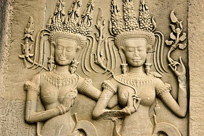 Dancer Relief Photograph - Angkor Wat Relief by Michele Burgess