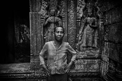 Photograph - Angkor Wat Temple Nun by David Longstreath