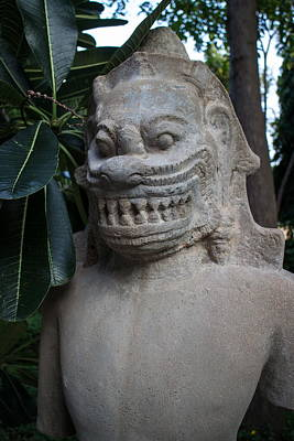 Photograph - Angkorian Demon In A Lush Garden In Southeast Asia At Dusk by Jason Rosette