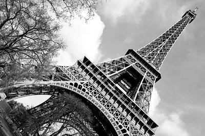 Photograph - Angled Eiffel Tower From Base To Summit Sringtime Paris France Black And White by Shawn O'Brien