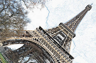 Digital Art - Angled Eiffel Tower From Base To Summit Sringtime Paris France Colored Pencil Digital Art by Shawn O'Brien