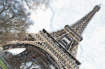 Digital Art - Angled Eiffel Tower From Base To Summit Sringtime Paris France Colored Pencil Digital Art by Shawn O'Brien