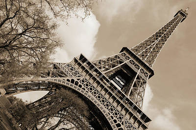 Photograph - Angled Eiffel Tower From Base To Summit Sringtime Paris France Sepia by Shawn O'Brien