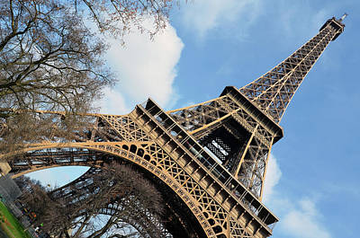 Photograph - Angled Eiffel Tower From Base To Summit Sringtime Paris France by Shawn O'Brien