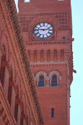 Angled View Of Clocktower At Dearborn Station Chicago Art Print