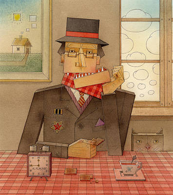 Portret Painting - Angleman06 by Kestutis Kasparavicius