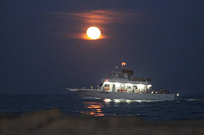 Photograph - Angler Cruises Under Full Moon by Robert Banach