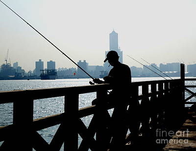 Photograph - Angler In The Port City Of Kaohsiung by Yali Shi