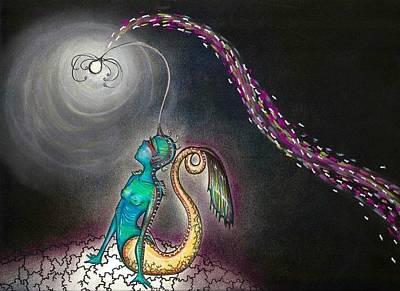 Lightbulb Drawing - Angler Mermaid by Summer Porter