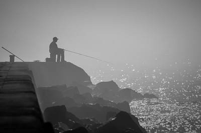 Angling In A Fog  Art Print by Bill Pevlor
