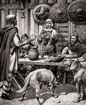 Anglo Saxon Feast Art Print by Pat Nicolle