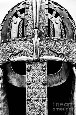 Embossed Photograph - Anglo Saxon Helmet Monochrome by Tim Gainey