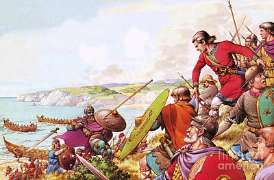 White Cliffs Of Dover Painting - Anglo Saxon Invaders by Pat Nicolle