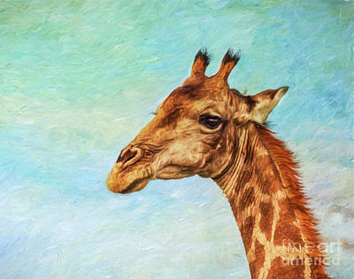 Digital Art - Angolan Giraffe Portrait by Liz Leyden