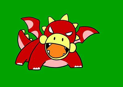 Kids Art Digital Art - Angry Baby Dragon by Paws Pals