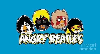 Mccartney Drawing - Angry Beatles - Angry Birds Angry Birds Parody by Paul Telling