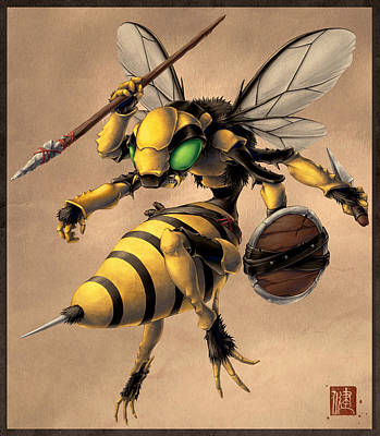 Wasp.insect Digital Art - Angry Bee by James Ng