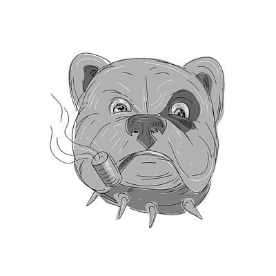 Angry Bulldog Smoking Corn Cob Pipe Drawing Art Print