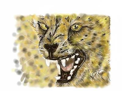 Digital Art - Angry Cheetah by Darren Cannell